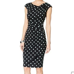 Connected Apparel Polka Dot Sheath Dress Sz 8